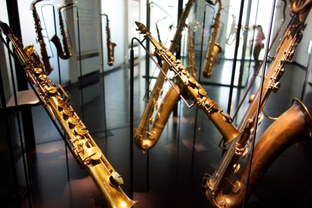 The Musée des Instruments de Musique had a featured exhibition called SAX200. It was billed as 'the ultimate exhibition about the life and the works of Great Belgian, acoustician, inventor, businessman and full-time genius Adolphe Sax (1814-1894), father of the hugely popular saxophone'.