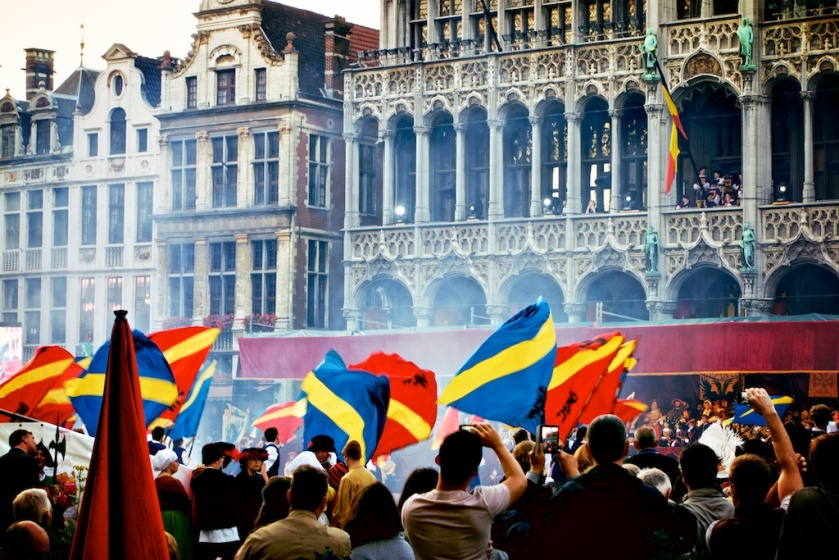 Flag wavers and fireworks entertained the masses in the Grand Place, as part of a re-enactment of life and celebrations in medieval times.