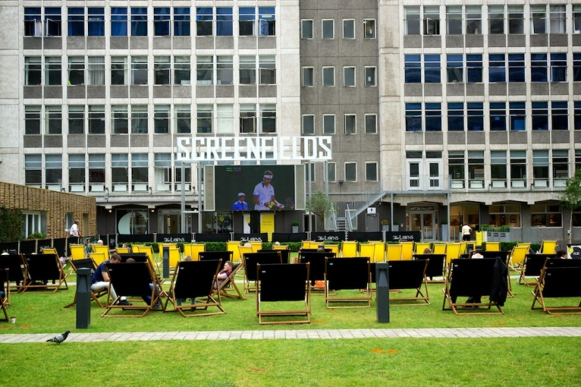 I stumbled across this area which was set up to view Wimbledon on the grass, in a deck chair and a 'Big Screen'