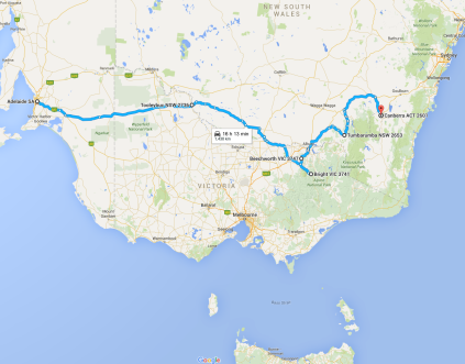 The map of the journey to Canberra, over 1400k from SA through Victoria, NSW and in to the ACT