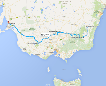 The route that we took, over 1400k from Canberra, ACT, through NSW, Victoria and on to home, SA