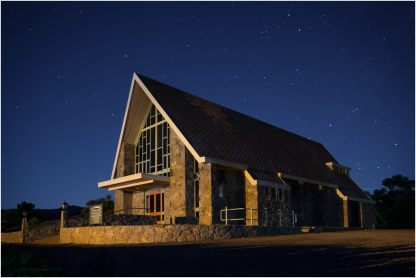 A night shot of St. Columbkille in Jindabyne