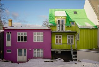 Two more colourful houses in Reykjavik