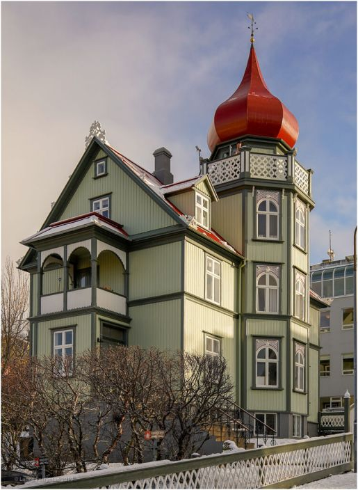 One of the many colourful houses in Reykjavik
