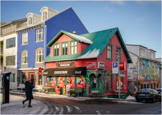 One of the many colourful shops in Reykjavik