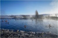 An amazing feeling, swimming in 38º water while surrounded by hotpools, ice and snow
