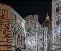 A night shot of the Duomo.
