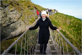 On the return journey on the Carrick-A-Rede Rope Bridge.