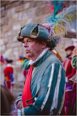 This ceremony was a changing of the guard at the Palazzo Vecchio, several men in colourful uniforms watched outwards to the crowd as the changing of the guard took place behind them.