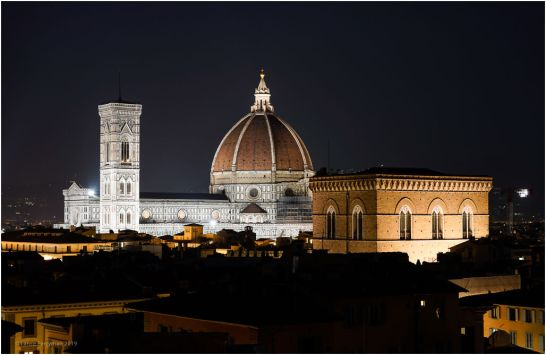 The first night in Florence, from the tower at our Hotel, Torre el Guelfa.