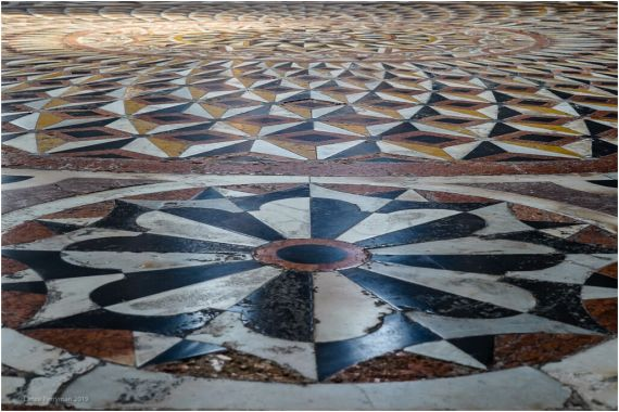 Centuries of wear and tear on these magnificent floor tiles, constructed from 1631- 1687.